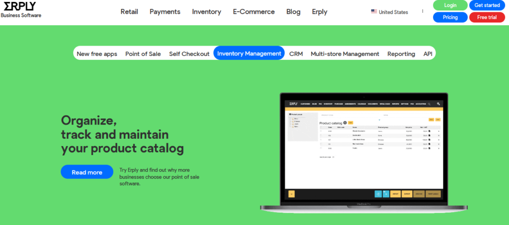 Erply top inventory management software