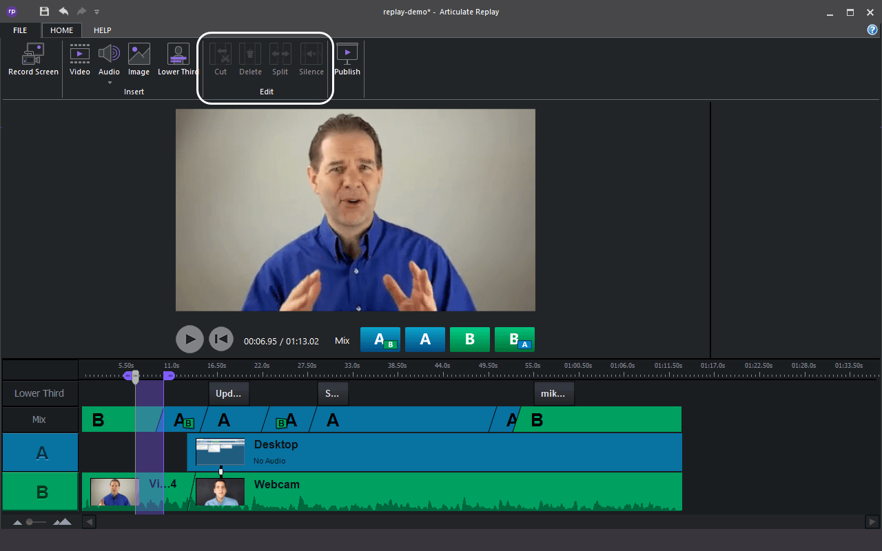 Record screen with Articulate Replay