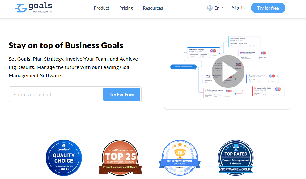 SoftwareWorld: Top 30+ Best Project Management Software & Tools of 2021 - KeepSolid Goals