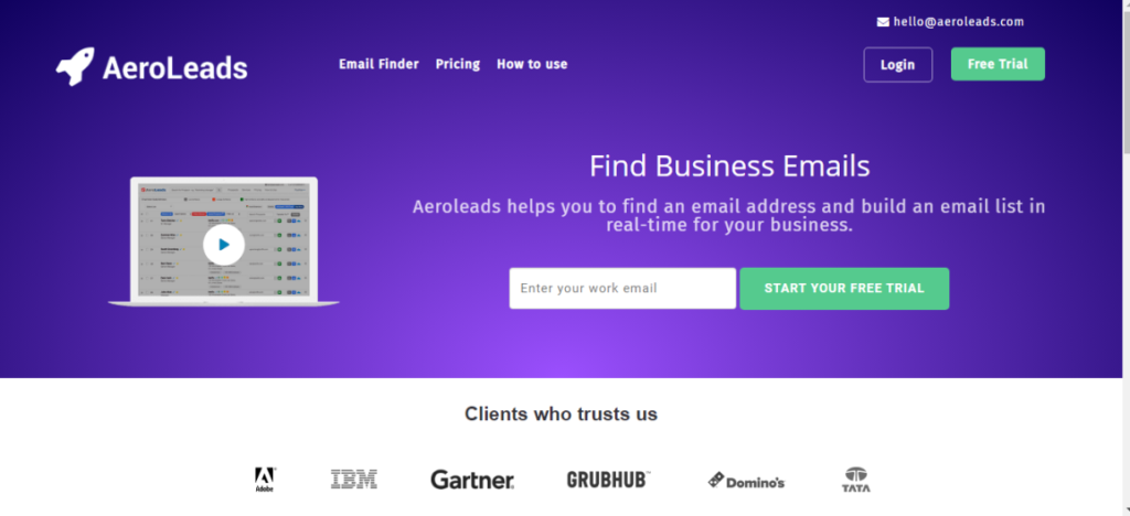 Aeroleads Email Finders Tool