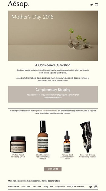 Aesop welcome email