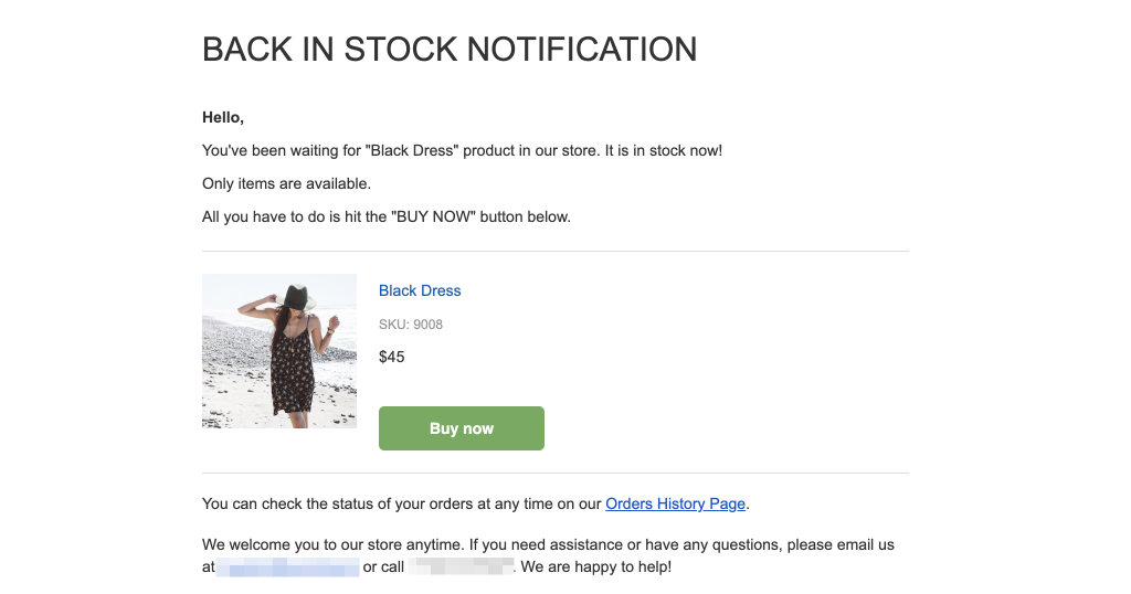 Send Notifications about Back in Stock