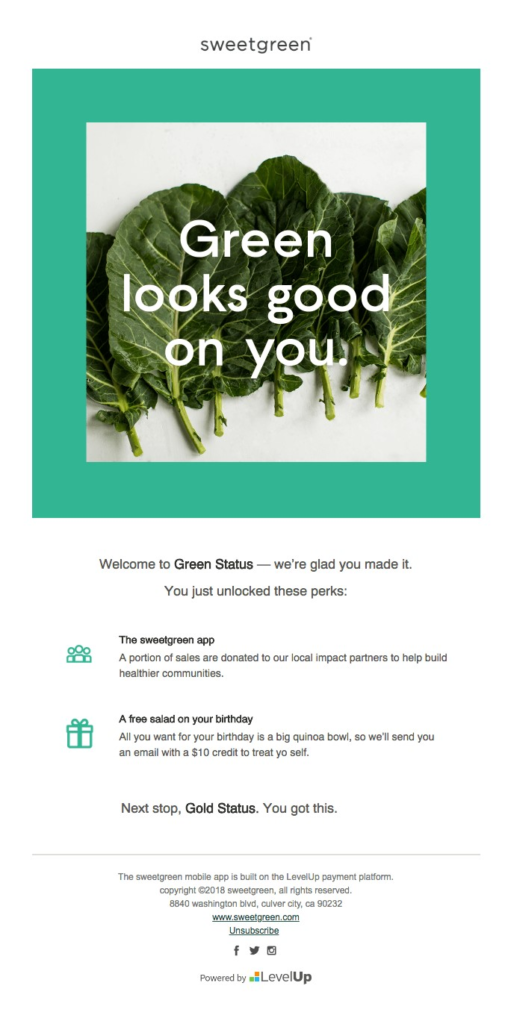 Sweetgreen email marketing