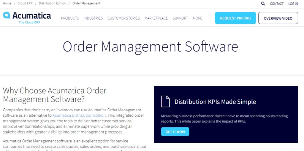 Acumatica Cloud ERP Order Management Software