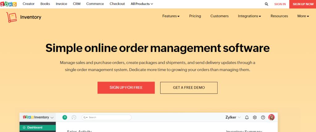 zoho Order Management Software